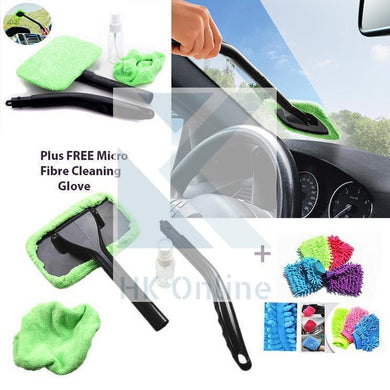Car WINDSCREEN CLEANER & 1 Microfibre Mitt, Clean INSIDE & OUT -Windows, Shower Screen, Mirrors, Includes Spray Bottle
