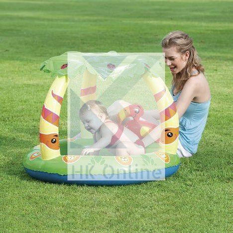 Bestway 'UV Careful' JUNGLE PADDLING POOL -26L Soft Comfort Floor & Palm Sunshade W99 x L91 x H71cm
