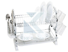 Load image into Gallery viewer, Chrome 2 Tier DISH DRAINER. -Drip Tray, Cutlery Rack, Glasses Holder