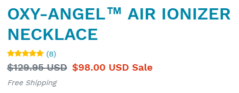 Oxy-Angel air ionizer necklace for only $98