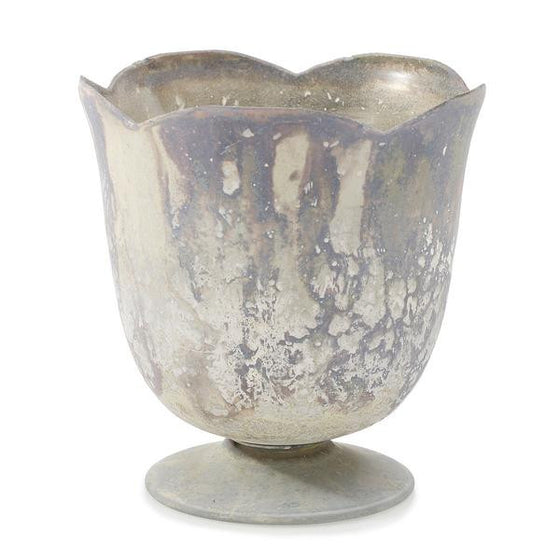 Marbled Compote Cup Vase - White