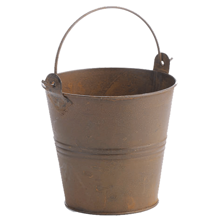 "4"" Rusted Metal Pail with Liner"
