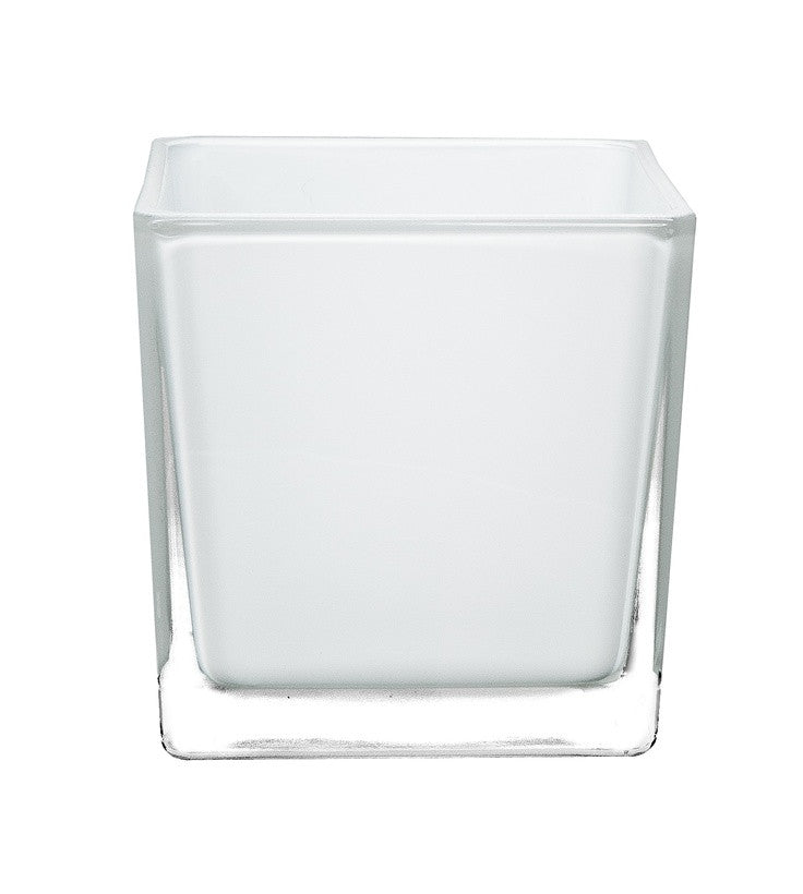 "2"" Tall Square Glass Votive - Frosted"
