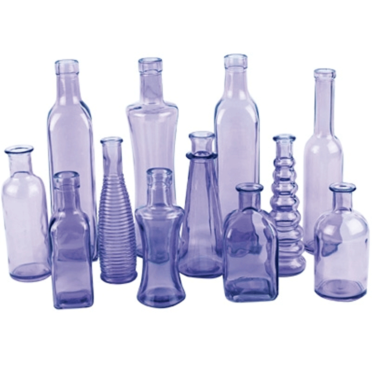 Boho Assorted Bud Vases, Purple - Set of 12