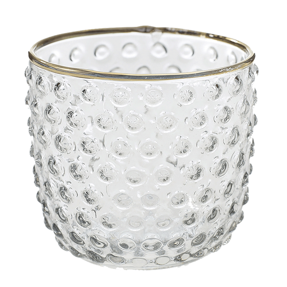 Mady Gold Trim Hobnail Votive