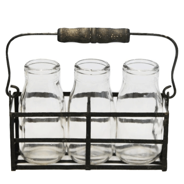 Metal Basket with 3 Glass Jars