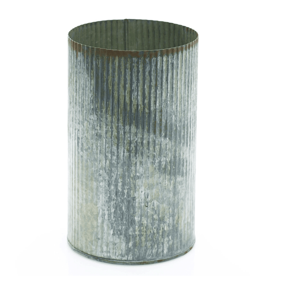 Zinc Cylinder Vase with Antiqued Finish - Tall