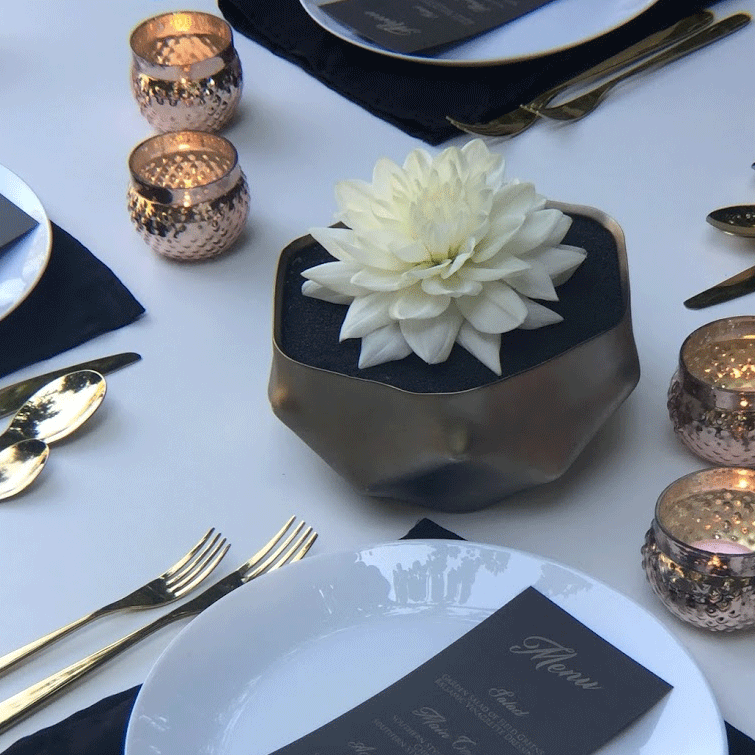 DIY Centerpiece - Zen Inspired white Dahlia and Stone Centerpiece with Geo Pot and Vintage Stained Glass Candleholder - Rose Gold