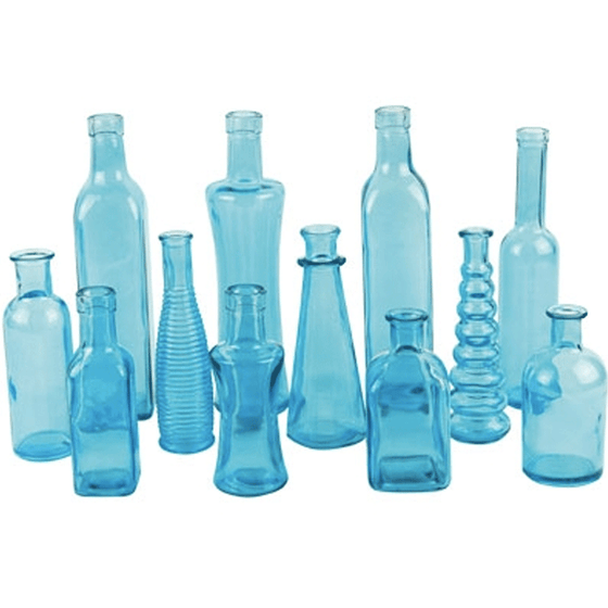 Boho Assorted Bud Vases, Light Blue - Set of 12
