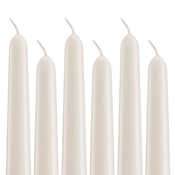 "Unscented Ivory Dripless Taper Candles - 6"" Tall - Pack of 12"