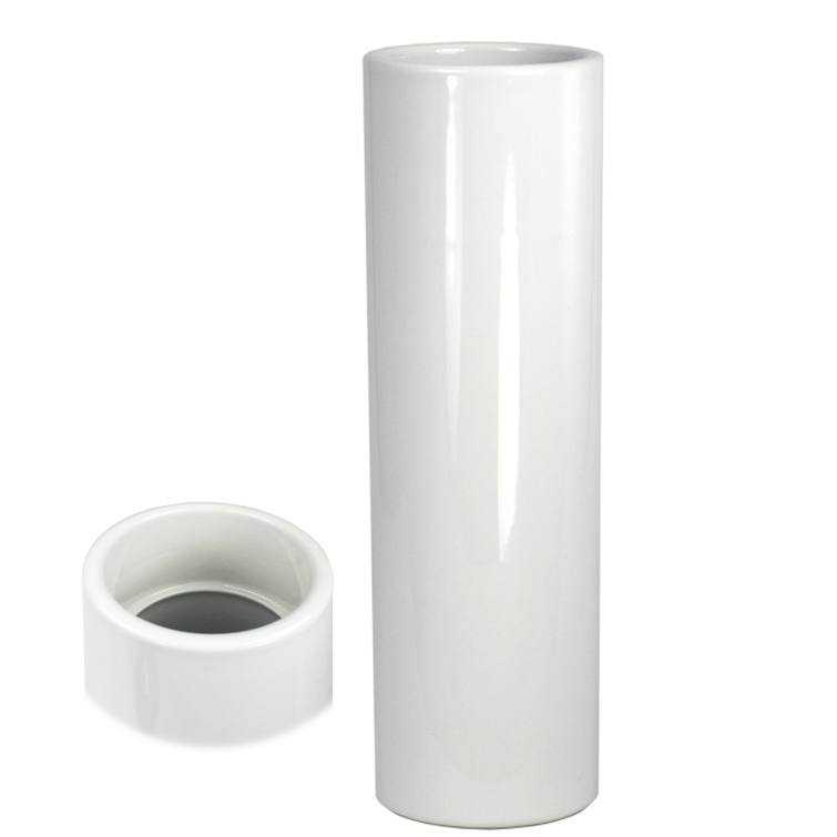 Nageire Ikebana Container - Glossy White with Top View