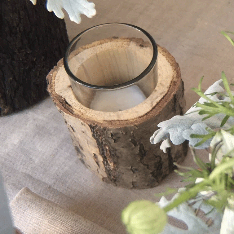 DIY Centerpiece - Woodsy Fern and Nigella Tablescape - Oak Votive