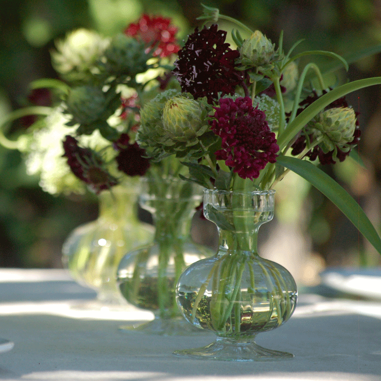 Boutique Bud Vase - Low with Scabiosa and Safflower