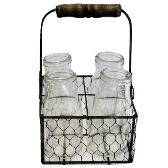 Zinc Chicken Wire Basket with 4 Jars