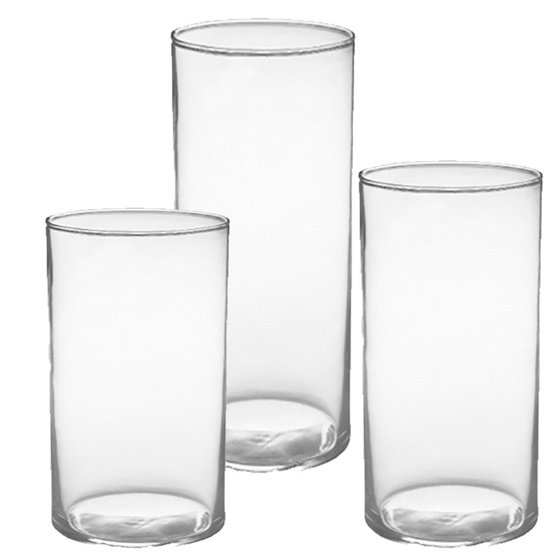"Clear Glass Cylinder Set - 3.5"" Diameter - Assortment of 3"