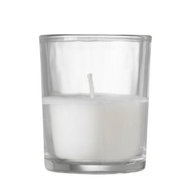 "2.5"" Tall Votive Candles in Clear Glass, Round - Pack of 25"