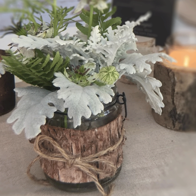 DIY Centerpiece - Feeling Woodsy - Birch Hanger Votive