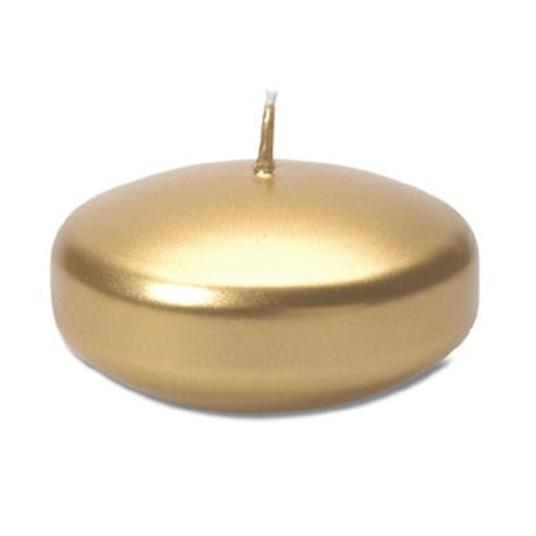 "3.25"" Diameter Floating Disk Candle - Gold- Set of 4"