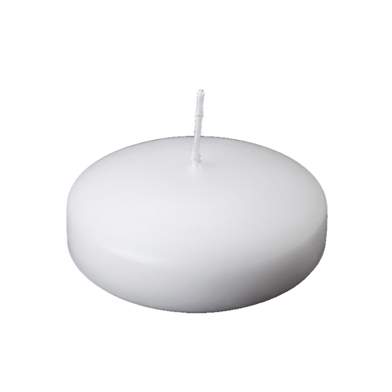"1.75"" Diameter Floating Disk Candles - White"