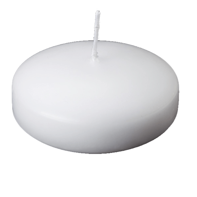 "3"" Diameter Floating Disk Candle - White - Set of 4"