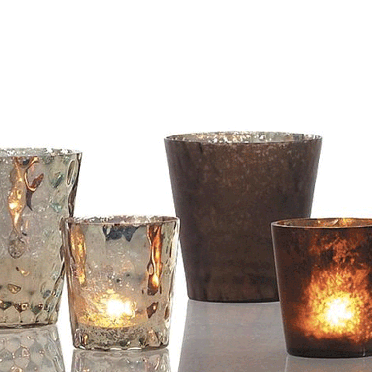 Luxe Glass Votive - Brown - Set of 4