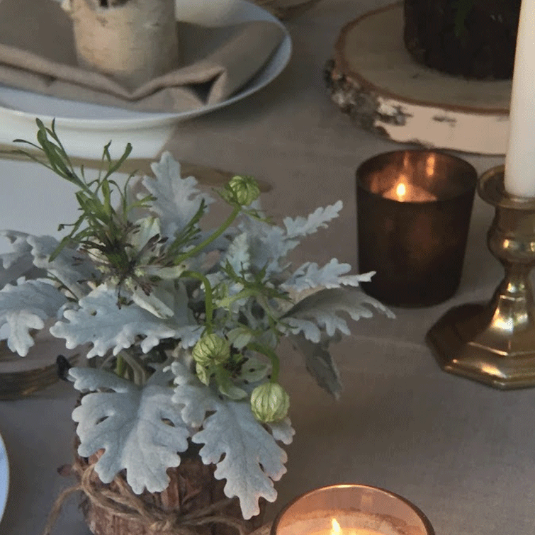 DIY Centerpieces - Woodsy Fern Table - Marbled Patina Votive - Copper Brown