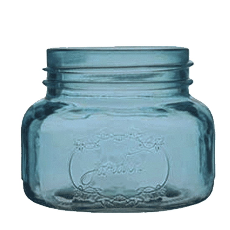 3.5 x 4 inches light blue mason jar