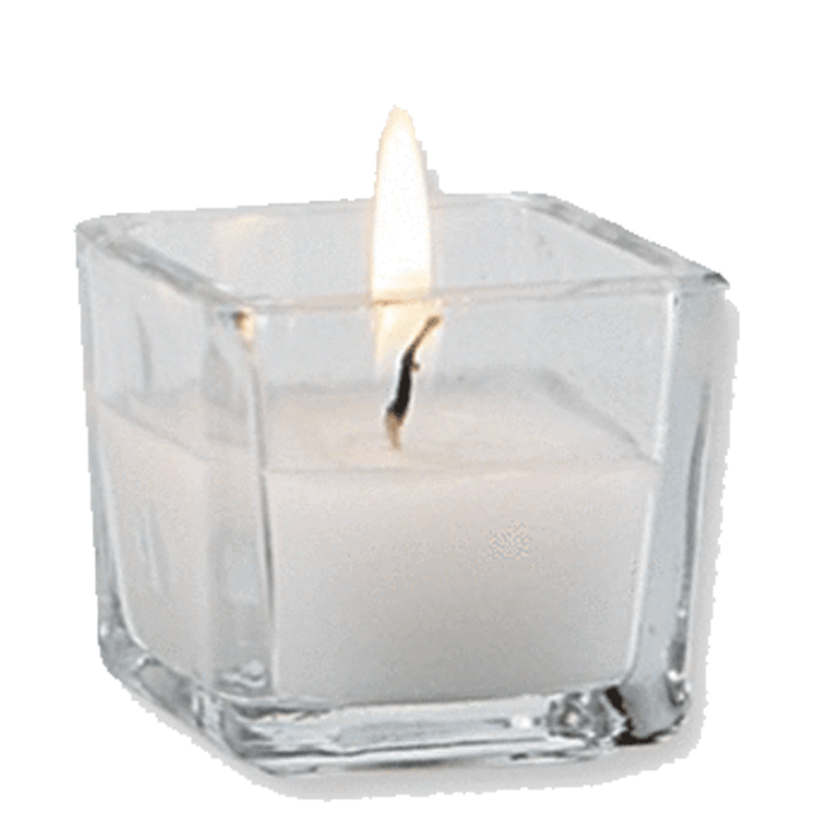 2 inch tall votive candle, square