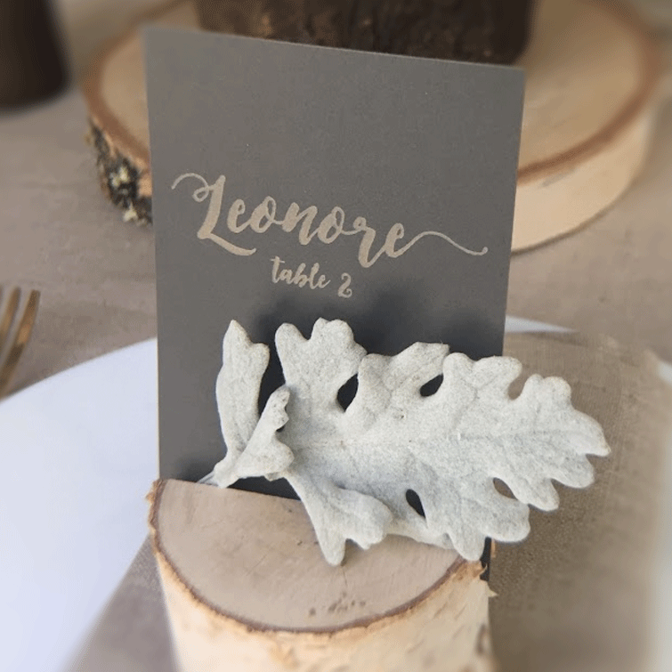 DIY Centerpiece - Woodsy Fern and Nigella Tablescape - Birch Stump Name Card Holder