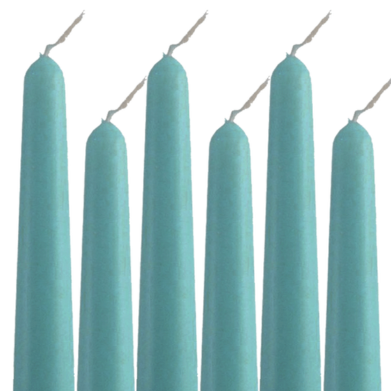"Unscented Turquoise Dripless Taper Candles - 11.5"" Tall - Pack of 12"