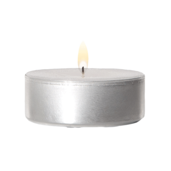 "1.5"" Diameter Metal Cup Tea Light Candles - Box of 125"