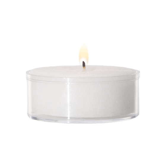 "1.5"" Diameter Plastic Cup Tea Light Candles - Box of 125"