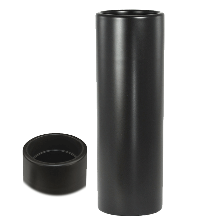 Nageire Ikebana Container - Matte Black with top view