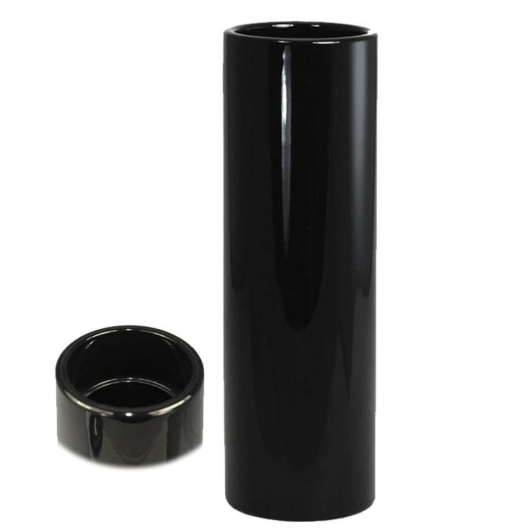 Nageire Ikebana Container - Glossy Black with Top View