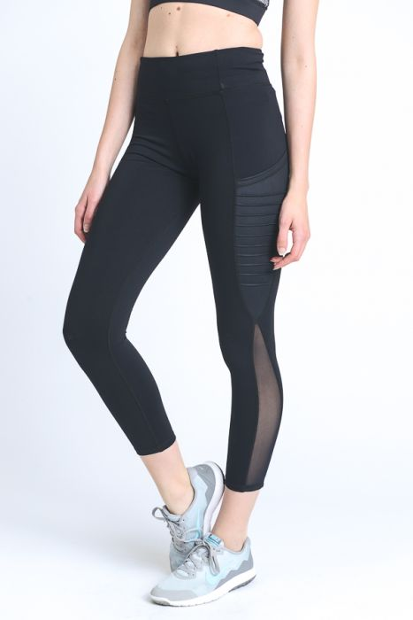 Mono B Black Moto Ribbed Splice Mesh Pocket Leggings