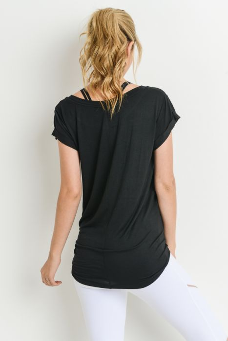 Mono B Black Round Neck Cap Sleeve Shirt
