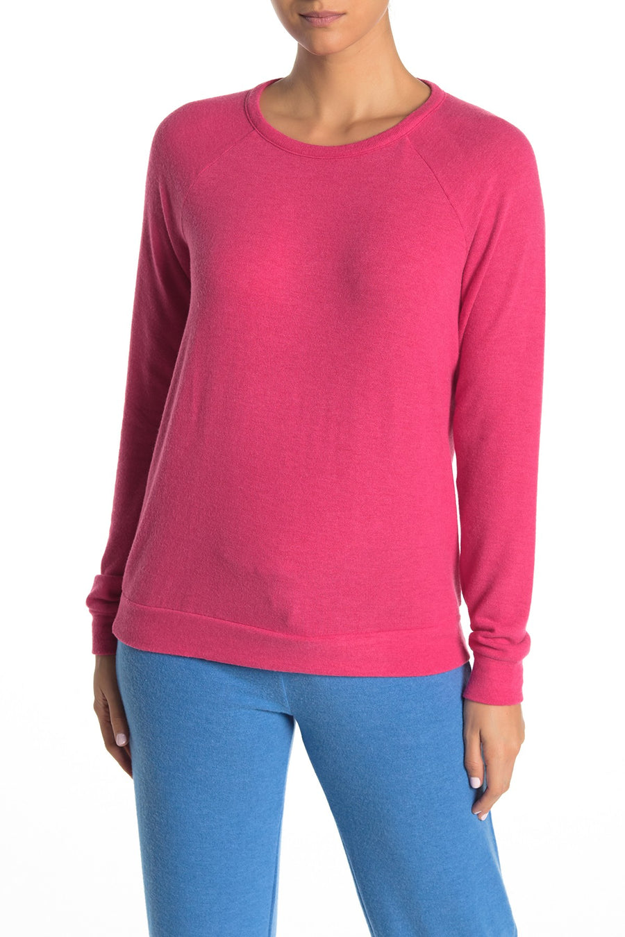 P.J. Salvage Melange Fuchsia Long Sleeve Top