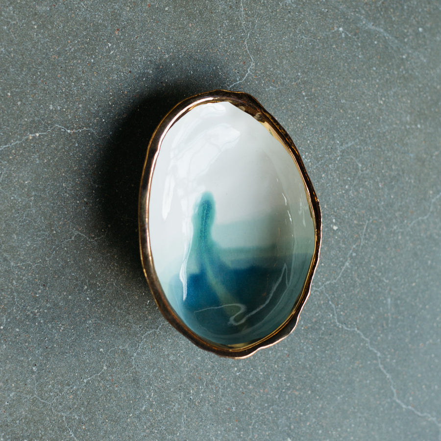 Abalone Smudge Dish With 22K Gold