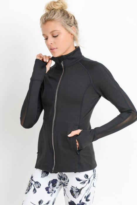 Mono B Black Mesh Panel Sleeve Hybrid Active Jacket