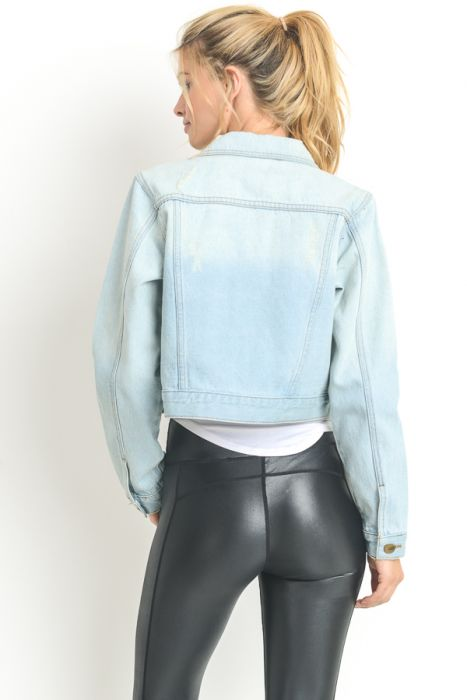 Mono B Slight Distressed Short Denim Jacket