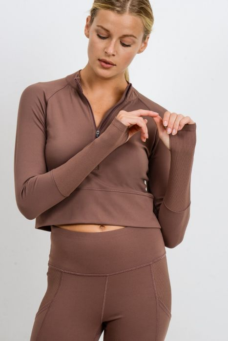 Mono B Walnut Ribbed & Smooth Combo Long Sleeve Crop Top