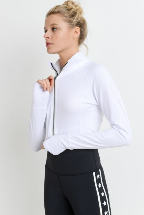 Mono B White Zip-Up Crop Active Jacket