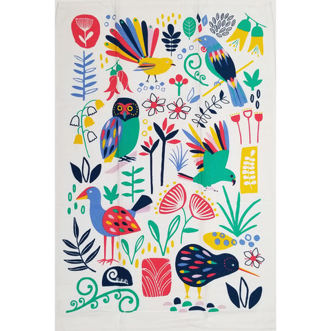 Flora & Fauna - Bright Cutouts Tea Towel