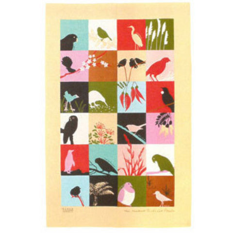Birds & Plants Tea Towel