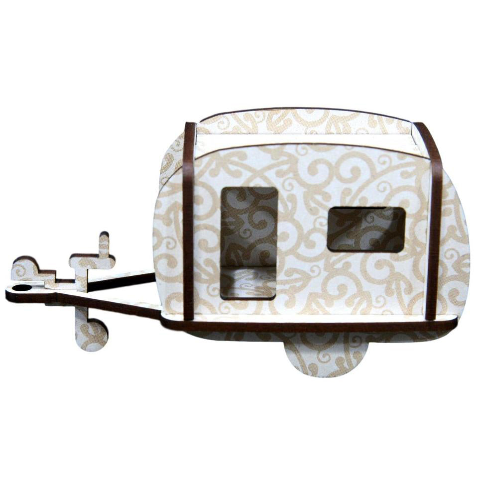 Caravan White Koru - Wooden Kitset Model