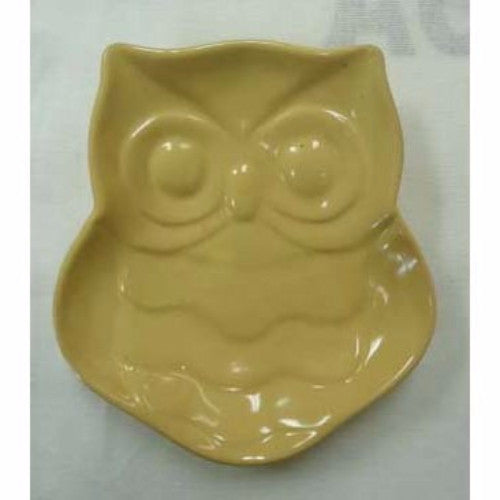 Ceramic Owl Plate 18cm - Yellow