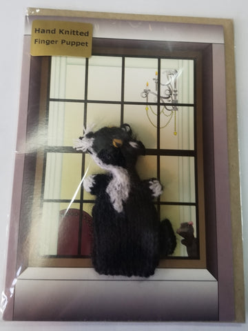 Card - Black and White Cat Finger Puppet - Little Fingy
