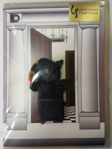 Card - Black Dog Finger Puppet - Little Fingy
