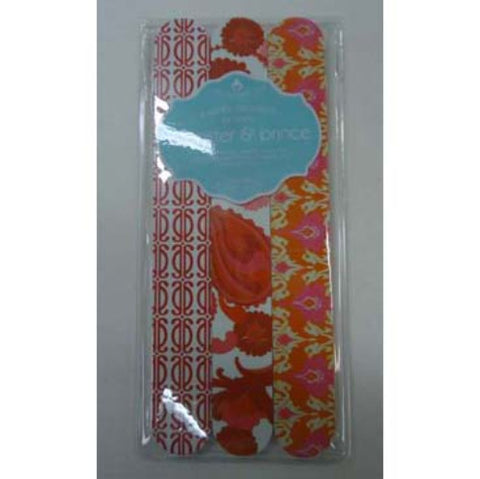 Wooster and Prince - Set of 3 Emery Boards - Orange Floral
