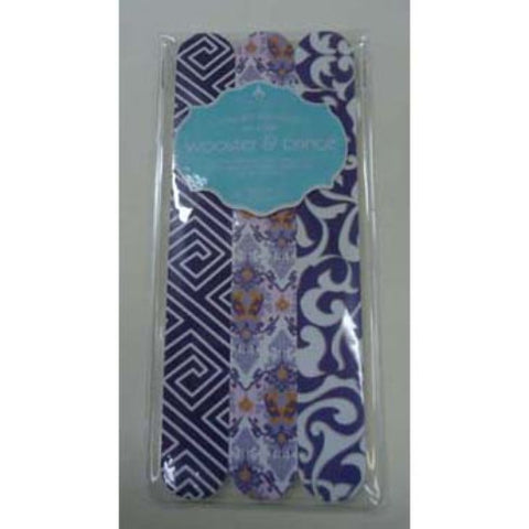 Wooster and Prince - Set of 3 Long Decorative Emery Boards - Purple Maze